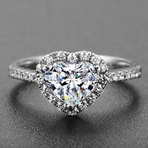 Love heart diamond silver ring engagement fashion